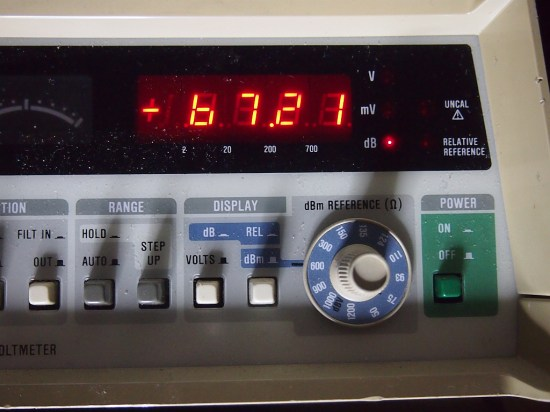 Fluke RMS meter showing the Farnell via attenuator at -67dBu