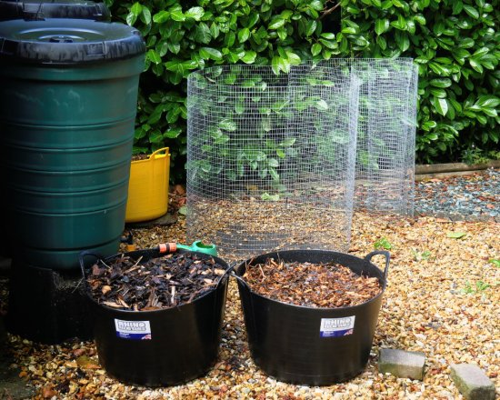 Compost making setup using mesh and trugs to measure volume