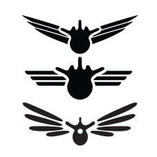 Første utkast til kiropraktor-logo: kombinasjon av vinger og vertebrae (ryggvirvel)