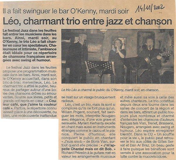 Léo, charmant trio entre Jazz et Chanson - Ouest-France - 14 novembre 2002