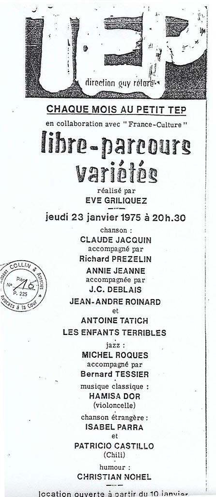 Théâre de l'Est Parisien - 23 janvier 1975