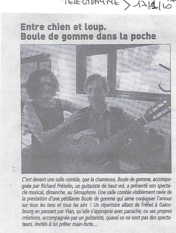Entre Chien et Loup. Boule de Gomme dans la poche - Le télégramme 17 janvier 2010