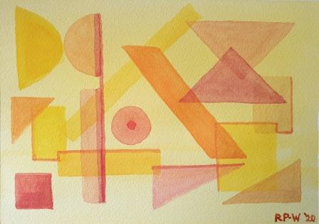 Abstract shapes in overlay watercolour painting
