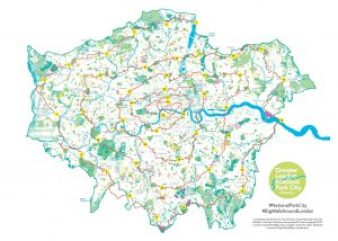 map of London with Daniel Raven-Ellison's spiralling walk