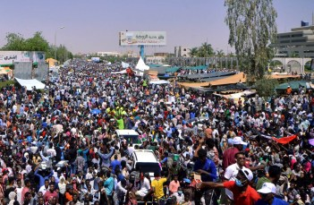 crowds in Khartoum