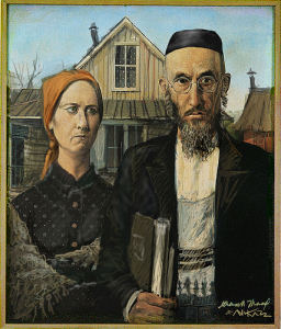 Settler Gothic spoof on American Gothic