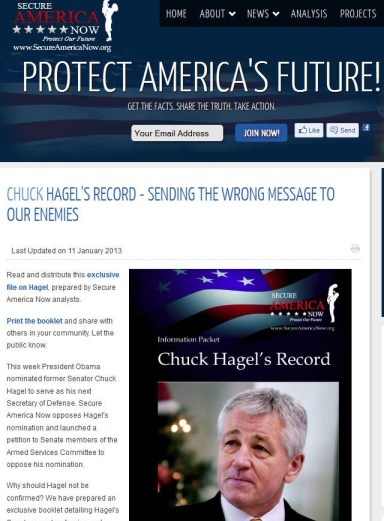 secure america now against hagel