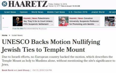 haaretz false unesco headline