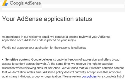 google adsense rejection