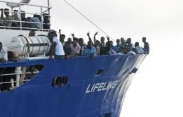 African refugees rescued by humanitarian relief ship refused European port entry (Credit Hermine Poschmann/Mission Lifeline)