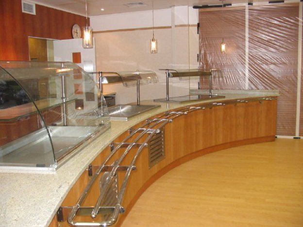 Servery counter with fittings