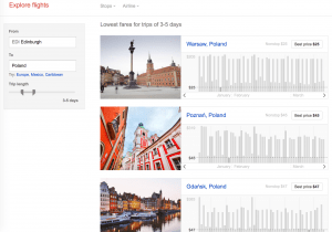 Google Flights Explore example
