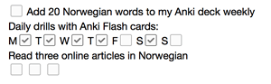 Example of an Evernote productivity list to help create a routine for your language learning