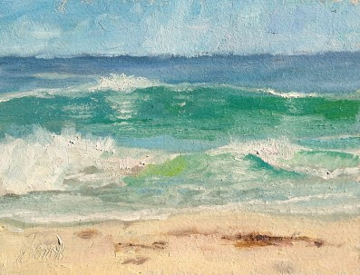 """Horizon 1 — Carmel Beach"" 8x10"" Oil on Canvas Panel (sold)"