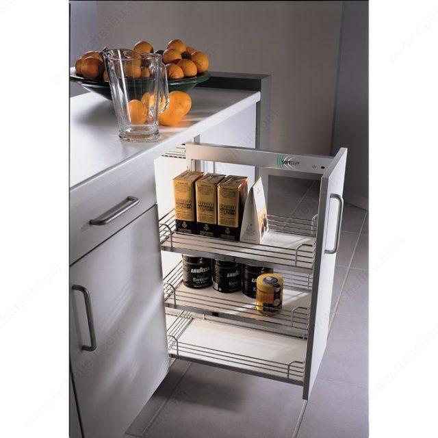 storage cabinet sliding on kitchen