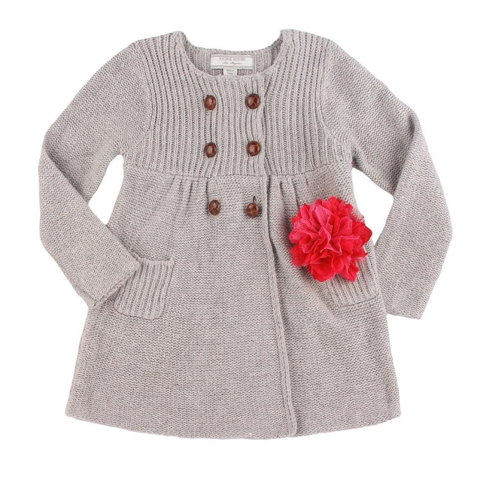 Knit Coat with Flower Accessory