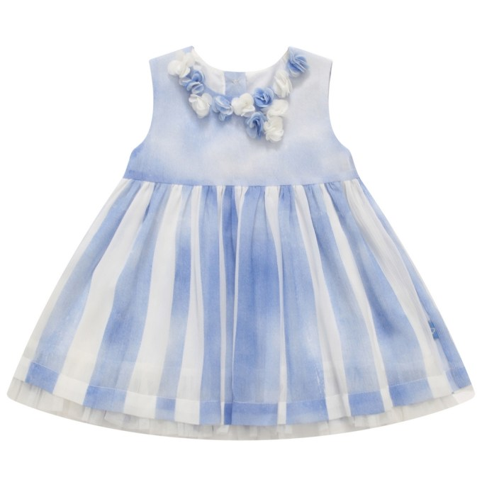 Cornflower Blue Pleated Dress with Rosettes