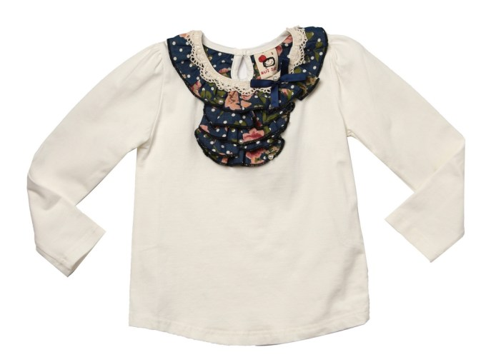 Long Sleeve Top with Floral Ruffled Collar