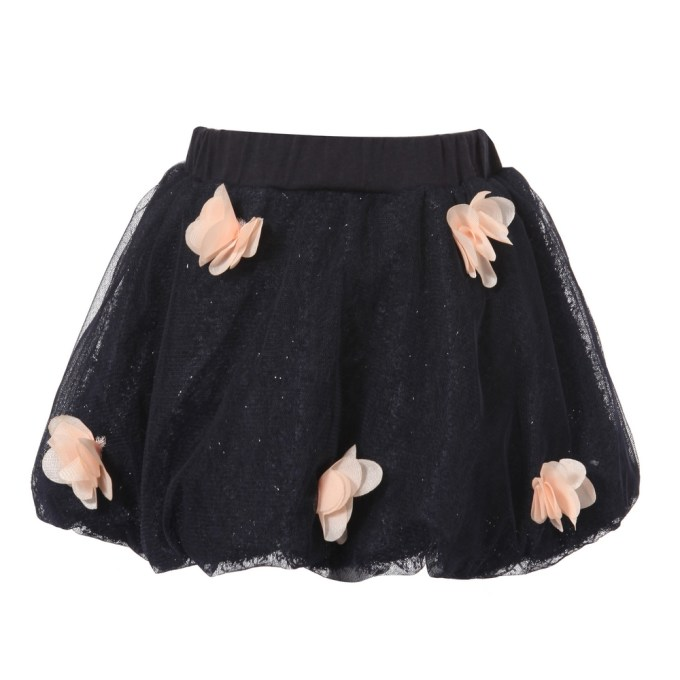 Blue Sparkly Skirt with Pink Florets