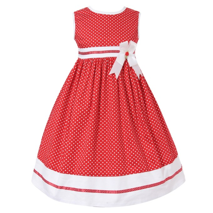 Summer Dress with White Dots and Ribbon
