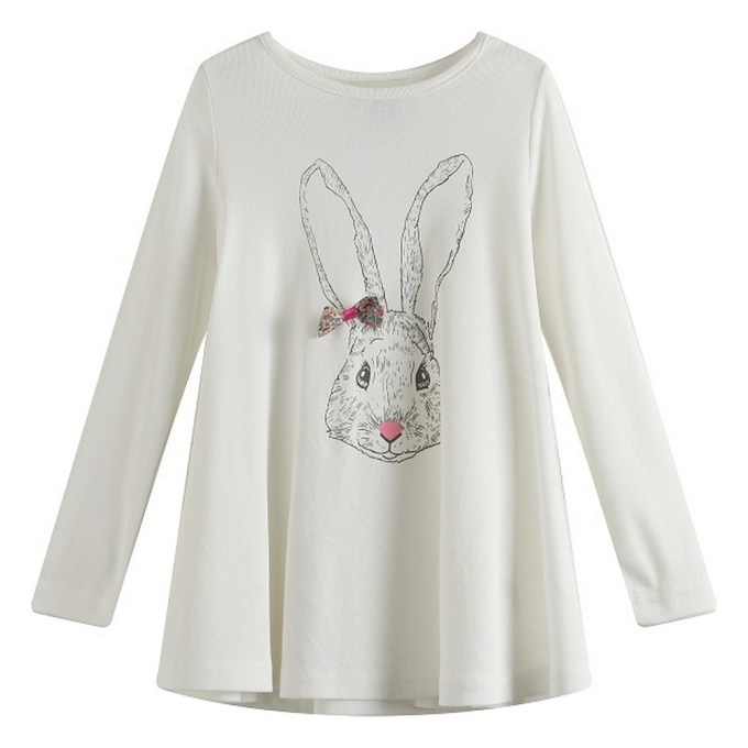 Long Sleeve Top with Rabbit Print