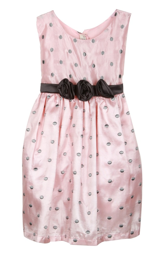 Pink Dress with Embroidered Grey Dots and Bow