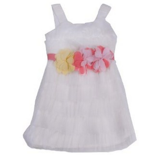 White Tulle Dress with Pink Rosettes