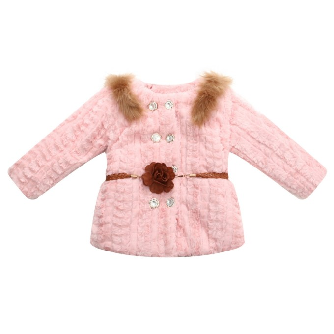 Faux Fur Jacket with Belt and Bright Buttons