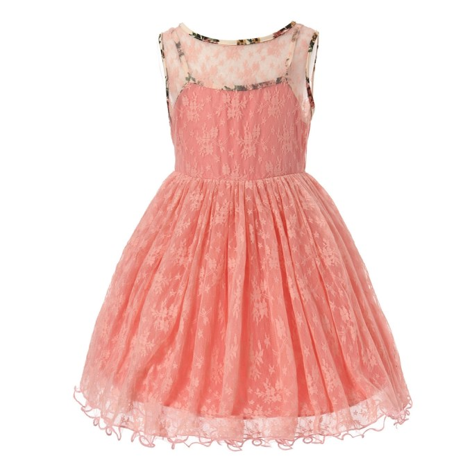 Lacy Dress with Floral Elements and Ribbon