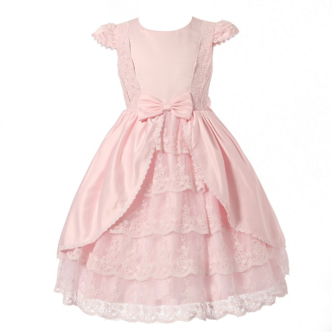 Multilayered Dress with Decorated Tulle Skirt and Bow