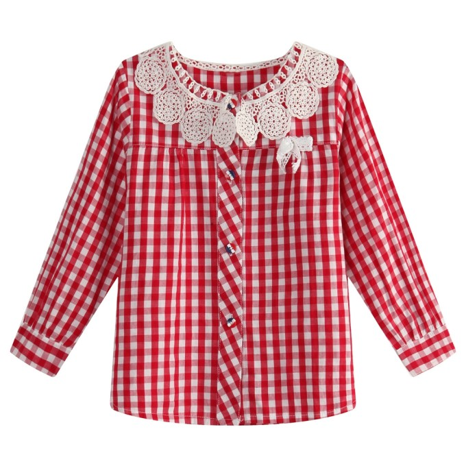 Gingam Top with Lace Collar and Bow Accent