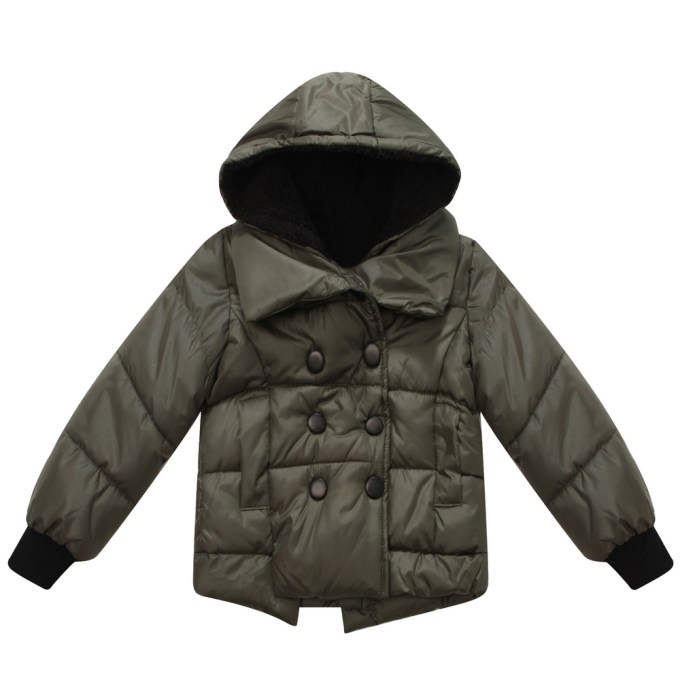 Hooded Padding Jacket with Snap Buttons Clousure