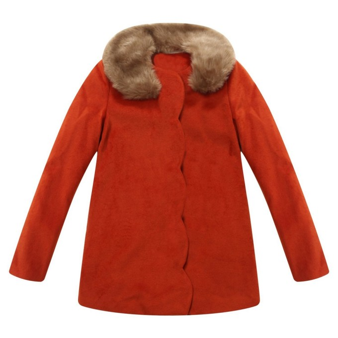 Overcoatoat with Fur Collar with Bow