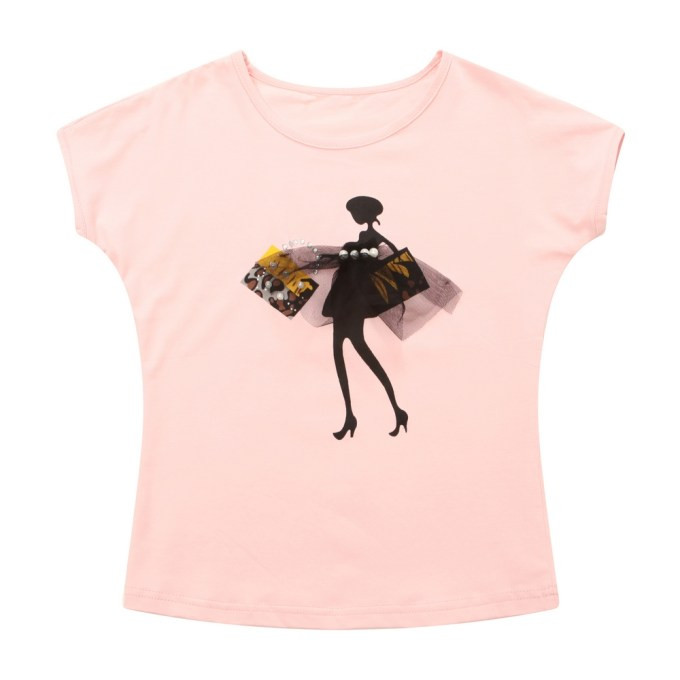 Fashion T-shirt with Girl Print and Pearls