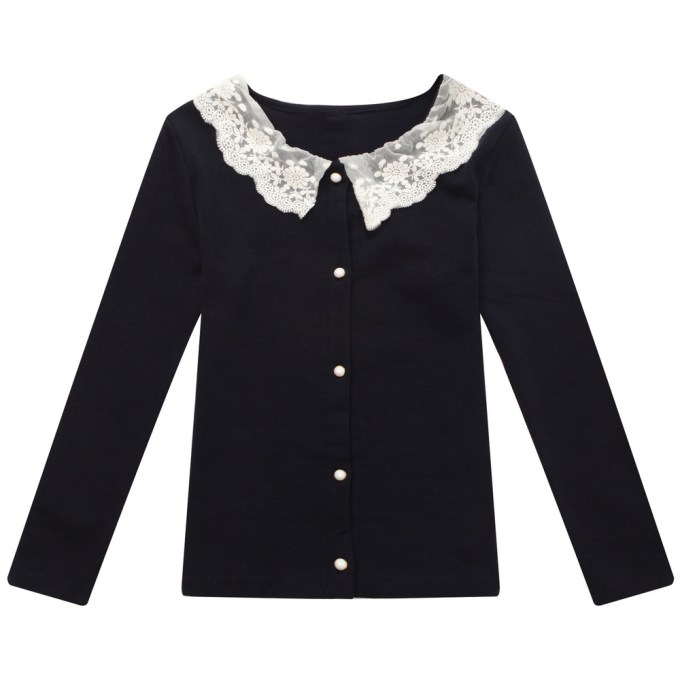 Solid Colored Cardigan with Lace