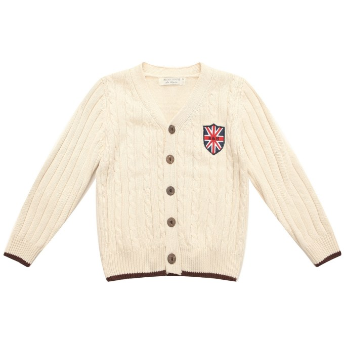 Solid Cardigan Sweater with Applique