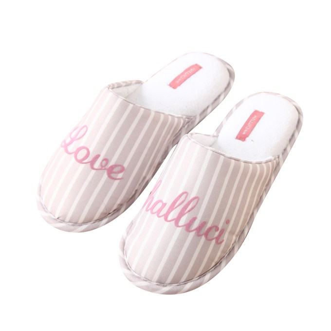Stripe Flock Letter House Slipper
