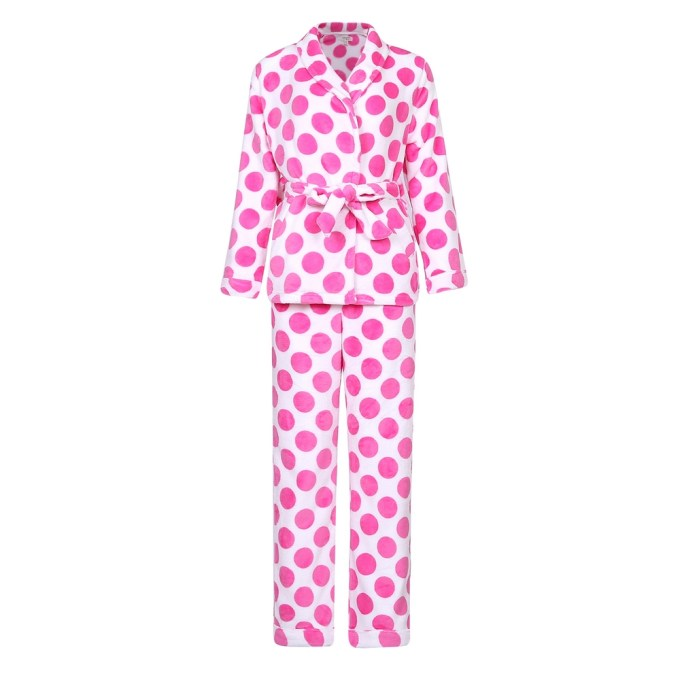 Soft and Warm Fleece Dot Robe Set