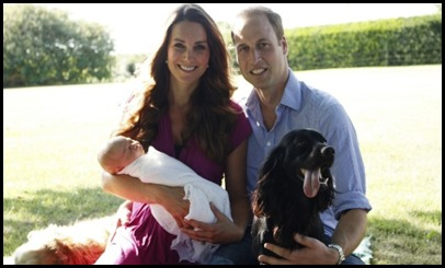 "PICTURE EMBARGOED UNTIL 00:01hrs BRITISH SUMMER TIME ON TUESDAY 20th AUGUST 2013 (23:01 GMT ON MONDAY 19th AUGUST) </p><br /> <p>A handout picture released on August 19, 2013 by  Kensington Palace shows Prince William, Duke of Cambridge, his wife Catherine, Duchess of Cambridge, with their newborn baby boy, Prince George of Cambridge, Tilly the retriever (L), a Middleton family pet and Lupo, the couple's cocker spaniel (R) at the Middleton family home in Bucklebury, Berkshire, in early August, 2013. The couple released two family photographs with their son, Prince George, taken by Michael Middleton, Catherine's father, in early August in the garden of the Middleton family home. AFP PHOTO/HO/MICHAEL MIDDLETON/MICHAEL MIDDLETON</p><br /> <p>== RESTRICTED TO EDITORIAL USE - MANDATORY CREDIT ""AFP PHOTO / DUKE AND DUCHESS OF CAMBRIDGE /  MICHAEL MIDDLETON "" - NO MARKETING NO ADVERTISING CAMPAIGNS - DISTRIBUTED AS A SERVICE TO CLIENTS - NO SALE ==MICHAEL MIDDLETON/AFP/Getty Images"