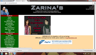 Zarinas.com Afghani Online shopping website