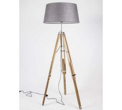 stehlampe mit lampenschirm grau, stehlampe dreifuß naturholz
