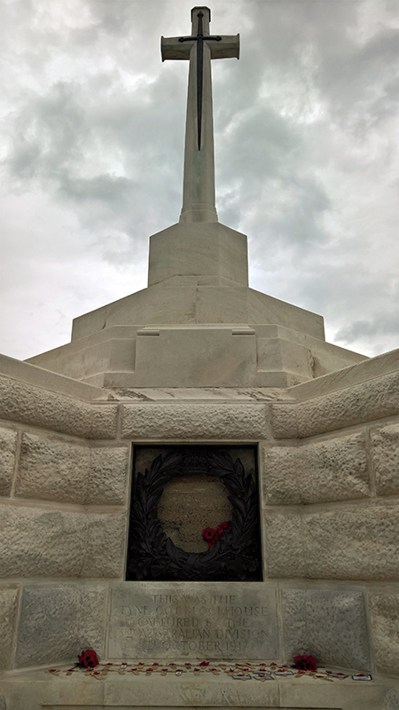 Tyne Cot Great Cross showing the Block House