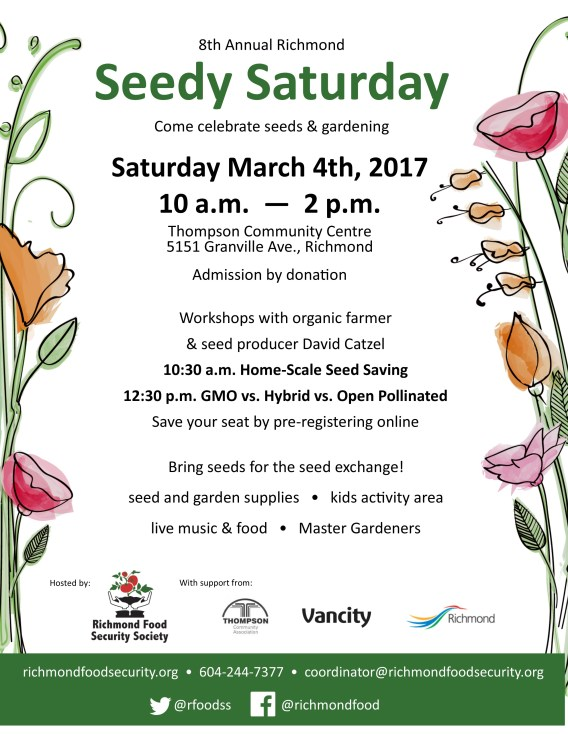 8th Annual Richmond Seedy Saturday @ Thompson Community Centre   Richmond   British Columbia   Canada