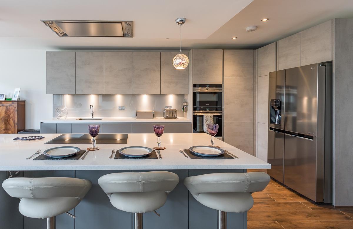 Nobilia Handle Less Concrete Kitchen Twickenham Richmond Kitchens
