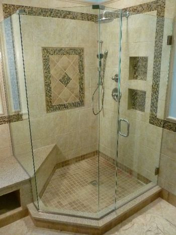 Frameless angled glass shower door enclosure. Midlothian Va