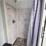 shower trailer stall with stainless steel pan
