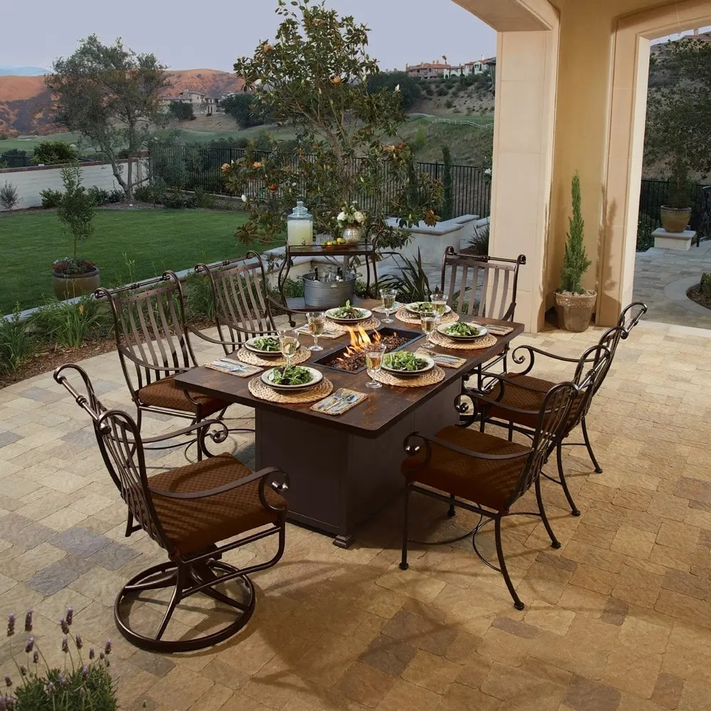 Fire Pits Reach New Heights - Literally! | Rich's for the ... on Outdoor Dining Tables With Fire Pit id=88875