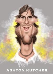 Ashton Kutcher Caricature by Rick Baldwin