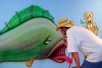 Cartoon fish mural