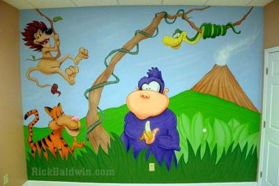 Pediatric jungle mural